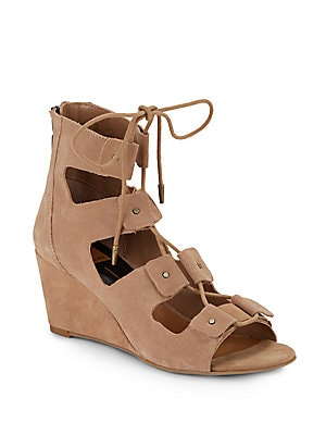 Lorena Suede Lace-Up Wedge Sandals