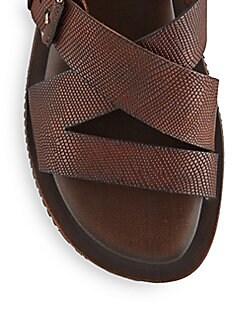 Liz Embossed Leather Slides