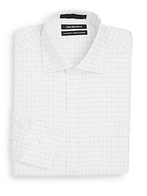Classic-Fit Windowpane Check Dress Shirt