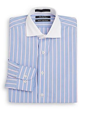 Slim-Fit Two-Tone Striped Dress Shirt