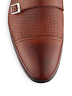 Woven Leather Monk-Strap Shoes