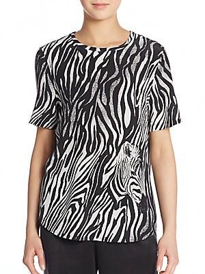 Riley Zebra-Print Silk Tee