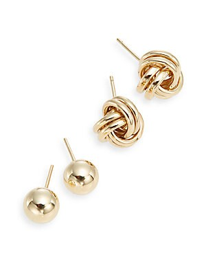 Click here for 14K Yellow Gold Ball & Knot Stud Earring Set prices