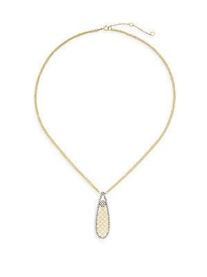14K Gold Vermeil & Sterling Silver Clover Open Teardrop Necklace