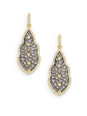 Hammered Geometric Sterling Silver & 14K Yellow Gold Vermeil Studded Drop Earrings