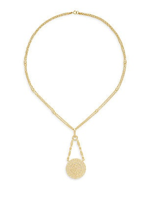 14K Yellow Gold Vermeil Multi-Strand Round Disk Pendant Necklace