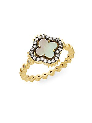 Harlequin Grey Mother-Of-Pearl & 14K Vermeil Clover Ring