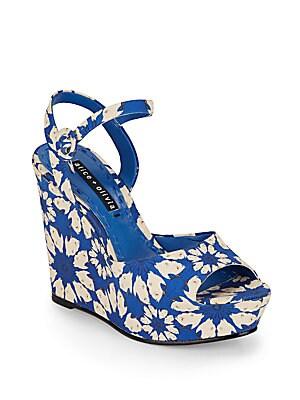 Jenna Floral-Print Platform Wedge Sandals