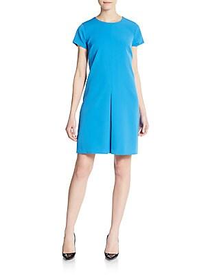 Pleat-Front Shift Dress