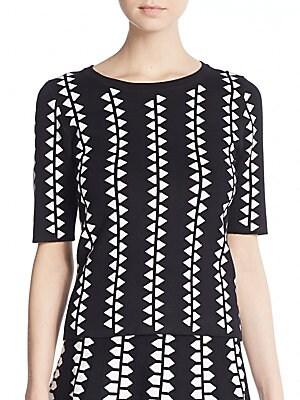 Geometric-Print Knit Top