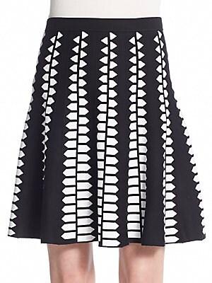 Geometric-Print Knit Skirt
