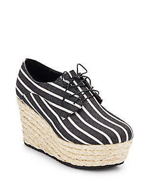 Rosie Striped Canvas & Jute Platform Wedge Oxfords