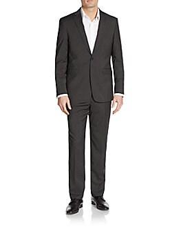 Slim-Fit Tonal Hairline Striped Wool Suit