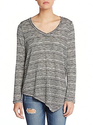 Striped Asymmetrical-Hem Sweater