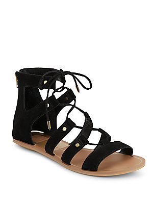 Val Suede Lace-Up Sandals