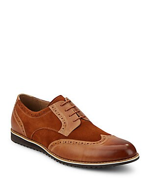 Leather & Suede Wingtip Derby Shoes