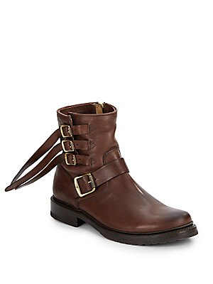 Veronica Leather Buckled Ankle Boots