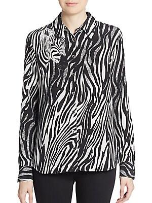 Brett Silk Zebra-Print Blouse
