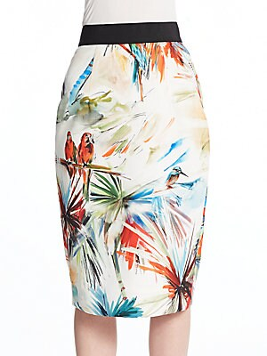 Parrot-Print Pencil Skirt