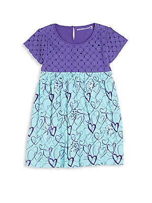Little Girl's Heart-Print Eyelet Dress