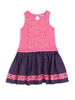 Little Girl's Floral Embroidered Polka Dot Dress