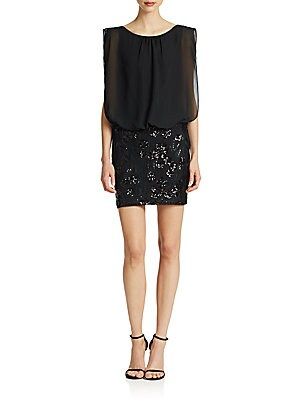 Blouson Sequin Lace Dress