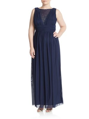 Embellished Illusion-Top Gown Marina, Plus Size