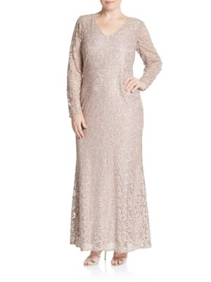 Sequined Lace Trumpet Gown Marina, Plus Size