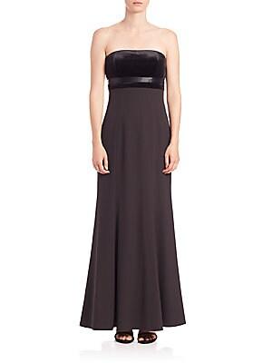 Strapless Velvet-Top Gown