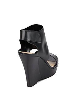 Winnie Cutout Leather Platform Wedges