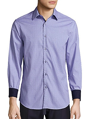 Regular-Fit Geometric-Print Cotton Sportshirt