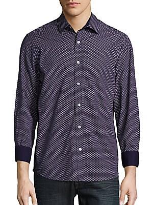 Regular-Fit Dot-Print Cotton Sportshirt