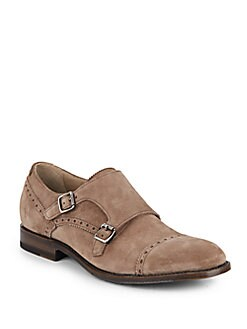 Fallon Suede Monk-Strap Brogues