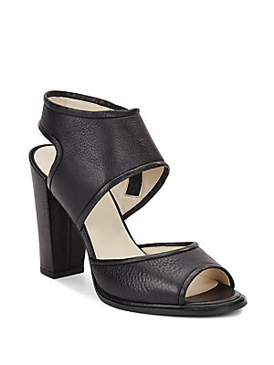 Leather Block Heel Sandals