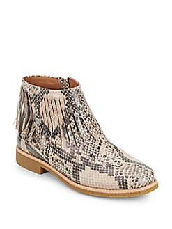 Betsie Faux Snakeskin Fringe Ankle Boots