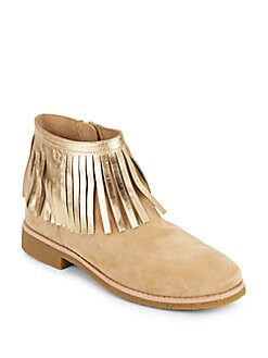 Betsie Metallic Fringe Ankle Boots