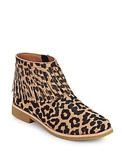 Betsie Leopard-Print Calf Hair Ankle Boots