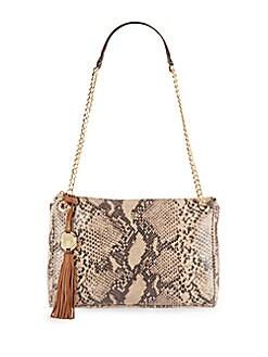 Drea Snake-Embossed Leather Shoulder Bag