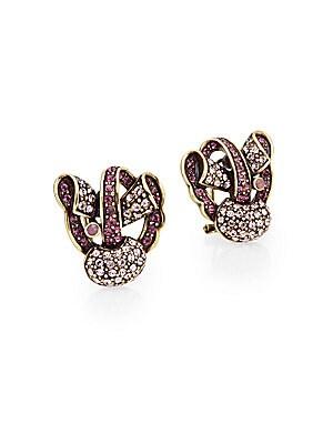 Simply Sweet Swarovski Crystal & Multicolor Rhinestone Button Earrings