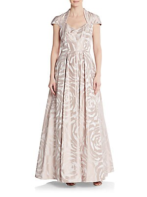 Rose-Print A-Line Gown
