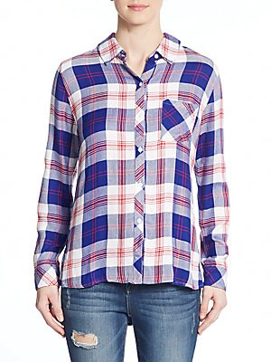 Hunter Plaid Hi-Lo Blouse