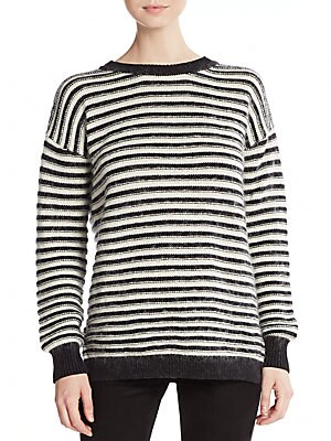 Worth Striped Flyaway-Back Sweater