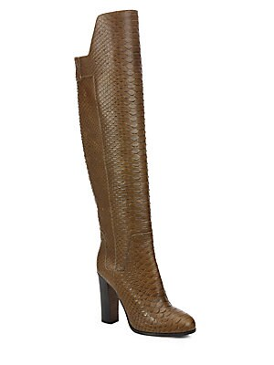 Dempsey Python Print Leather Over-The-Knee Boots