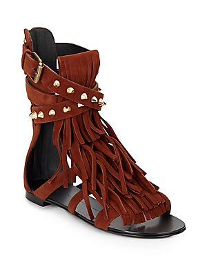 Studded Suede Fringed Open-Toe Sandals