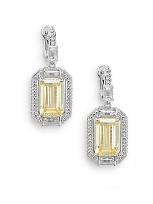 Avery Canary Crystal, Rock Crystal & Sterling Silver Baguette Drop Earrings