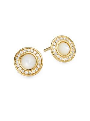Lollipop Mother-Of-Pearl, Diamond & 18K Yellow Gold Mini Stud Earrings