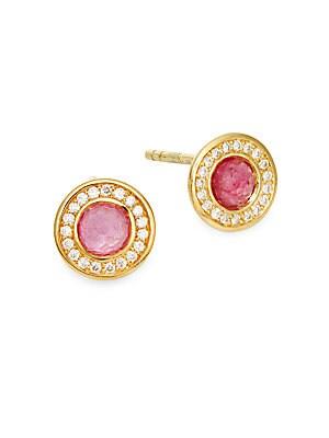 Lollipop Diamond, Pink Tourmaline & 18K Yellow Gold Stud Earrings