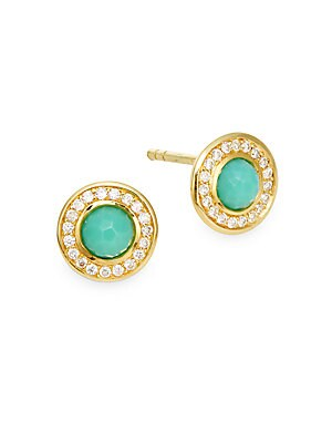 Lollipop Turquoise, Diamond & 18K Yellow Gold Mini Stud Earrings