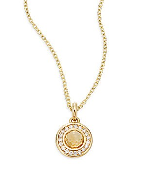 Lollipop Diamond, Orange Citrine & 18K Yellow Gold Pendant Necklace