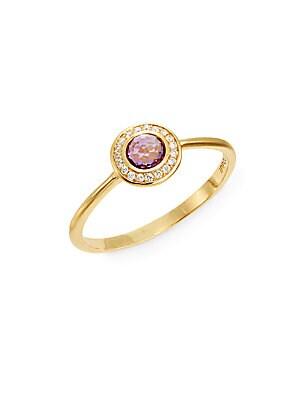 Lollipop Dark Amethyst, Diamond & 18K Yellow Gold Mini Ring